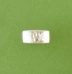 Flat Faced Band Monogrammed Silver Ring