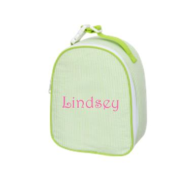 Monogrammed Green Seersucker Lunchbox