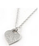Monogrammed Heart Sterling Silver Pendant