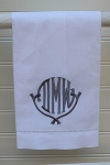 Monogrammed White Linen Hemstitched Tea Towel