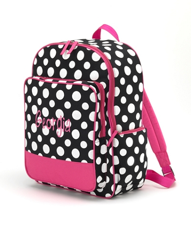 Personalized Black and White Polka Dot Big Kid Size Backpack