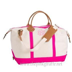 Monogrammed Hot Pink Overnight Duffle