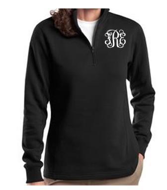 Ladies Black Monogrammed Quarter Zip Sweatshirt