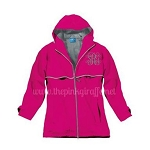 Monogrammed Ladies Hot Pink Rain Coat