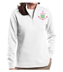 Ladies White Monogrammed Quarter Zip Sweatshirt