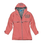 Monogrammed Ladies Coral Rain Coat