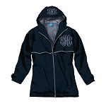 Monogrammed Ladies Navy Rain Coat