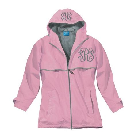 Monogrammed Ladies Pink Rain Coat