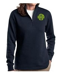 Ladies Navy Monogrammed Quarter Zip Sweatshirt