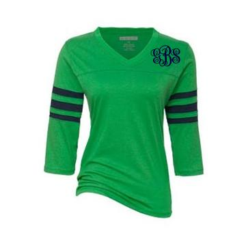 Monogrammed Ladies Navy And Green Raglan Tee