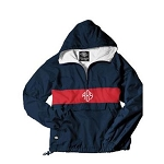 Monogrammed Navy and Red Striped Hooded Windbreaker