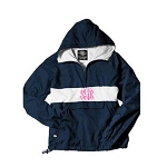 Monogrammed Navy and White Striped Hooded Windbreaker