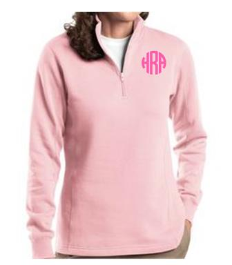 Ladies Pink Monogrammed Quarter Zip Sweatshirt