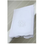 Monogrammed White Scalloped Edge Tea Towel