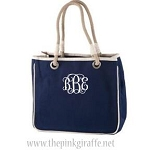 Monogrammed Navy Blue Rope Handle Tote Bag