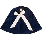 Monogrammed Navy Velvet Little Girl's Cloak