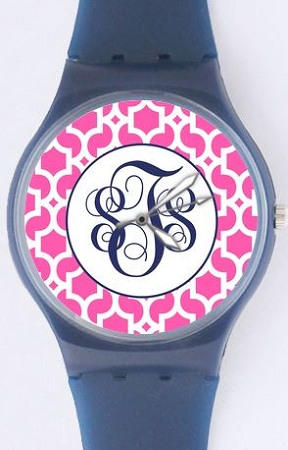 monogrammed plastic watch