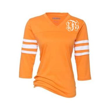 Ladies Monogrammed Orange and White Raglan T-Shirt