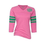 Ladies Monogrammed Pink & Green Raglan T-Shirt
