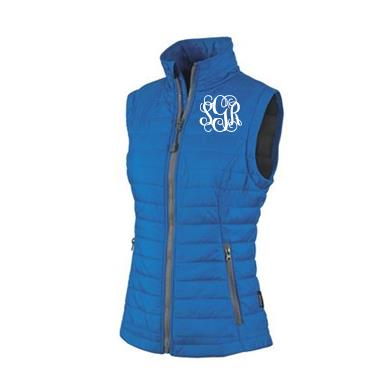 Monogrammed Quilted Blue Puffy Vest