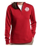 Ladies Red Monogrammed Quarter Zip Sweatshirt