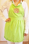 Monogrammed Ruffle Lime Green Apron