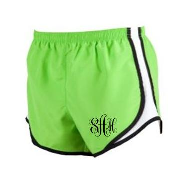 Monogrammed Running Shorts Lime