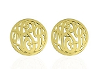 Monogrammed Script Post Earrings with Border
