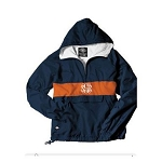 Monogrammed Navy and Orange Striped Hooded Windbreaker