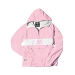 Monogrammed Pink Striped Hooded Windbreaker