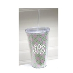 Monogrammed Green and Pink Lillypad Tumbler QS