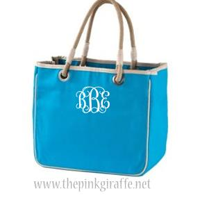 Monogrammed Turquoise Tote