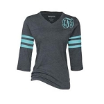 Ladies Monogrammed Charcol and Aqua Raglan Tee
