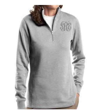Ladies Gray Monogrammed Quarter Zip Sweatshirt