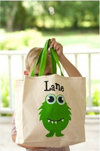 Monogrammed Monster Canvas Tote