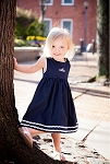 Monogrammed Garden Princess Dress Navy with White Trim