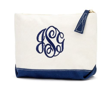 Monogrammed Canvas Cosmetic Bag-Navy Trim