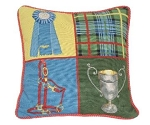 Equestrian Blue Ribbon Needlepoint Pillow