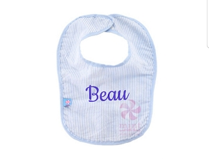 Monogrammed Seersucker Bib -  Choose Color!