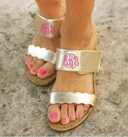 Monogrammed Gold Wedge Sandal