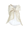 Monogrammed Swaddle Blanket with Ivory Silk Bow