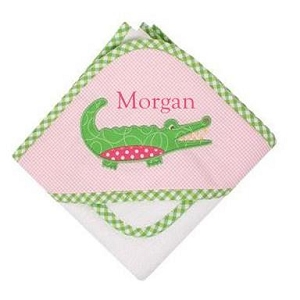 Monogrammed 3 Marthas  Pink Alligator Baby Hooded Towel