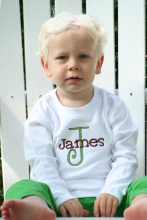 Personalized Block Name w/Letter Child's Shirt