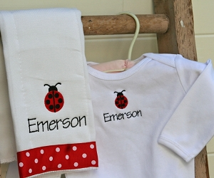 Monogrammed baby gift sets the pink giraffe personalized ladybug onesie burp cloth set negle Gallery