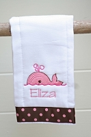 Custom Personalized Pink Whale Burp Cloth