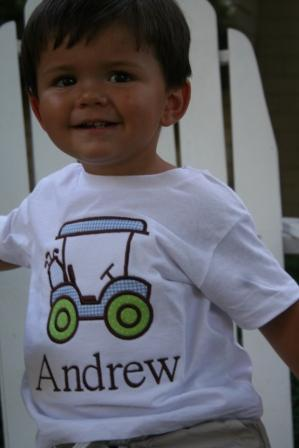 Child's Personalized Golf Cart Applique Shirt