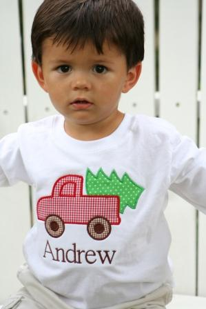Child's Personalized Applique Truck and Tree Shirt