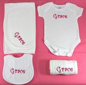 4 Piece Personalized Baby Layette Set