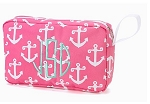 Monogrammed Pink Anchor Cosmetic Bag