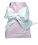 Monogrammed Swaddle Blanket-Pink with White Bow